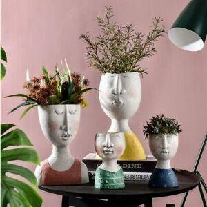 Art Human Head Flower Pot Resin Portrait Succulent Plant Vase Garden Home Decor#