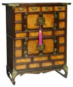 Storage Chest, Korean Mixed Wood Two-Level Two Door Cabinet.Brass Pulls, Vintage
