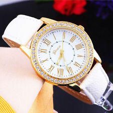 Ladies Fashion Geneva Quartz Gold and Rhinestone Crystal White Band Wrist Watch.