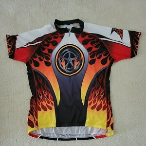 Primal Cycling Jersey Flames Gears Back Pockets Polyester Zip Front Men's 3XL