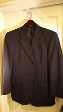 Vallemosso Spa Navy Striped 3 Button Suit, 42R, 36/28