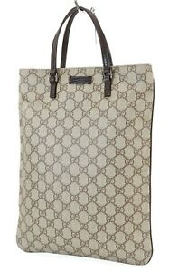 Authentic GUCCI Brown GG PVC Canvas and Leather Tote Hand Bag Purse #39987