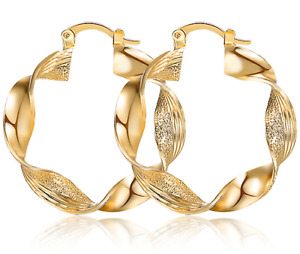 Twisted Lovely Small 18k Gold Plated Hoop Earrings Circle Creole Chic Hoops Cute