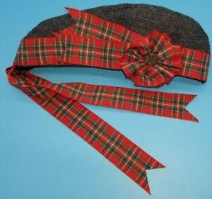 Glengarry Scottish CAP Reproduction Civil War Era Gray Wool--Red Stewart  New