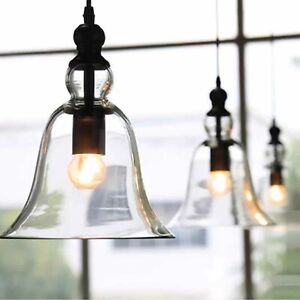 Bell Glass Shade Pendant Hanging Light Ceiling Lamp Dining Room Bedroom Kitchen