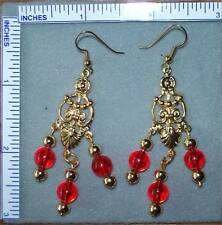 Red color beads & gold tone earrings