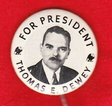 """1944  THOMAS DEWEY FOR PRESIDENT 1 1/4"""" CAMPAIGN PICTURE PIN"""