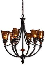 """New listing 29"""" Wrought Iron Bronze Metal Chandelier Horchow Brown Hanging Light Old World"""