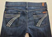7 for All Mankind Dojo Womens Denim Blue Jeans Size 29 x 31 Wide Leg Dark EUC