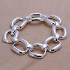 Square Chain Charm Womens Mens Bangle Solid Bracelet 925 Sterling Silver H124