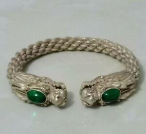 Collectible China Green Jade Tibet Silver Handwork Auspicious Dragon Bracelet B3