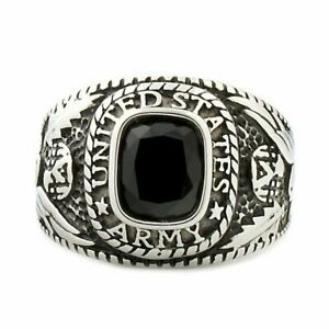 Hood: Mens US Army 316L Stainless Steel Ring Military Veterans Gift