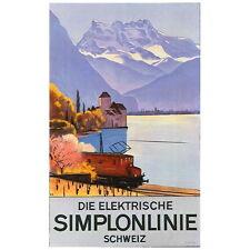 Die Elektrische Simplonlinie Travel Poster Deco FRIDGE MAGNET, Swiss Advertising