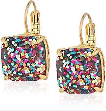 KATE SPADE 12K Gold Plated Multi Glitter Square Studs Earrings NEW
