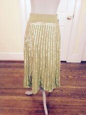 Anthropologie Basil & Maude Green Sequin Full Skirt SZ 8 Boho *