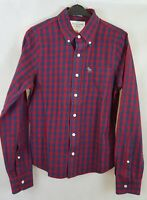✔️ MEN'S ABERCROMBIE MUSCLE FIT CHECK LONG SLEEVE SHIRT RED BLUE SIZE S SMALL