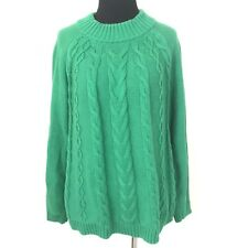 TALBOTS GREEN CABLE KNIT TURTLENECK L/S HOLIDAY SWEATER SIZE MEDIUM PETITE