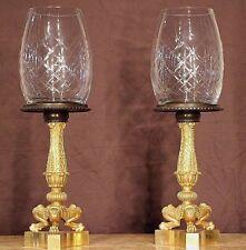 Pair French antique gilt bronze Empire tazza cassolettes lamps ormolu urns 1835
