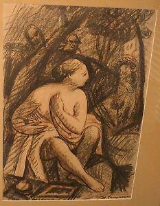 Two Men Watching Nude Woman Under TreeMixed Media Drawing-1940s-Austria