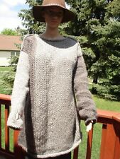 Grey Hand Knitted thick Wool Sweater  Oversized Pullover  Unisex  L /XL/XXL