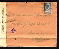 Suriname 1940s Censor Cover to USA / Fold / Taped Back - Z14968