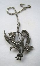 Vintage Deco Silver Marcasite Flower Grasses Brooch Pin safety Chain