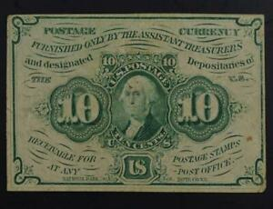 1862 10c Fractional Currency First Issue Fr# 1242 Very Fine No Reserve 99C Open