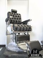 New Custom Button Tufted Barber Chair - Koken, Belmont, Koch, Paidar Style Chair