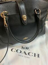 COACH Mercer 30 Satchel Black Grain Leather Crossbody Dust Bag Purse 37575