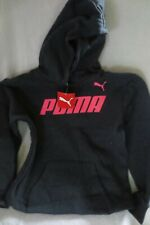 Puma Girl Sweatshirt Hoodie Dark Gray Neon Logo Fleece Size M 8-10 New