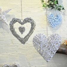 Rustic Style Wicker Wedding Gift Ornament Double Heart Wall Hanging Decoration