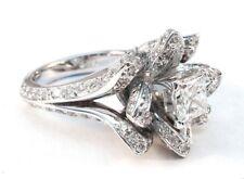 Certified 3.45Ct Princess Cut Diamond Lotus Engagement Ring in 14K White Gold