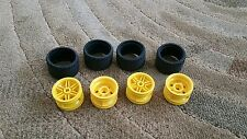 Lego Parts Pieces Wheel Yellow  #56145 & Tire 37 x 22  LOT of 4  sets
