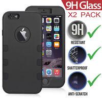 [HEAVY DUTY] iPhone 6/6s Plus Armor Hybrid Defender Case+2x Tempered Glass Film