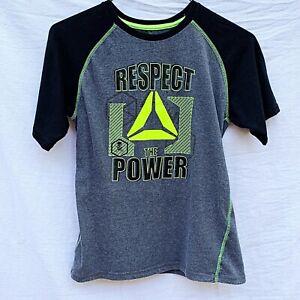 Reebok Respect The Power Youth XL Black Gray T-Shirt