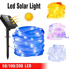 20M LEDs Solar Powered Tube Rope Fairy String Lights Waterproof Outdoor Garden