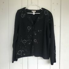 Heirloom Collectibles Women L Black Beaded Flowers Christmas Sweater Cardigan