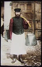 Glass Magic Lantern Slide A WATER CARRIER MOSCOW C1890 PHOTO RUSSIA