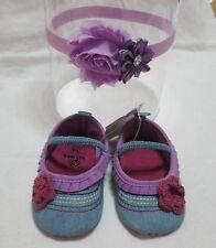 Scarpe neonata jeans/Completo fascia per capelli neonata e scarpe  6/9 mesi