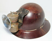 Vintage 1920s MINING HELMET w/ GUYS DROPPER Miner's Carbide Lamp