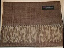New 100% Cashmere Scarf Brown Tweed Herringbone Scottish Wool Check Plaid Unisex