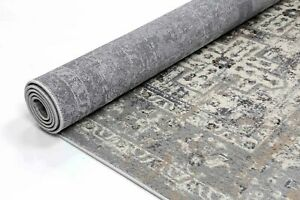 Tadley Grey Medallion Distressed Transitional Rug Runner 80x300cm *FREE DELIVERY