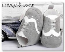 BABY BOYS PRAM SHOES GREY WHITE FAUX SUEDE CHRISTENING FORMAL SMART PARTY 3-12m