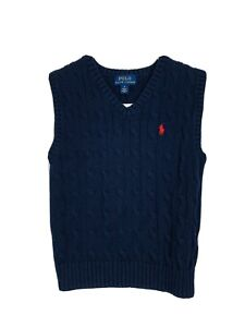 Youth Boys' Polo Ralph Lauren Cable Knit Navy Blue V-Neck Sweater Vest Size 5
