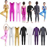 Girls Long Sleeve Ballet Dance Gymnastics Catsuit Kids Shiny Bodysuits Dancewear