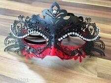VENEZIANO Masquerade Maschera FILIGRANA DI METALLO NERO ROSSO Diamonte Ball Prom Halloween