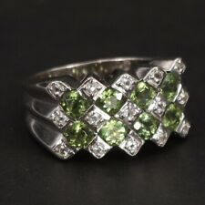Cluster Cocktail Ring Size 8 - 7g Sterling Silver - Peridot & White Topaz