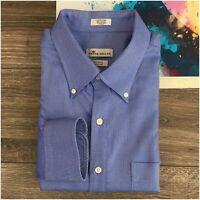 Peter Millar Mens Shirt Long Sleeve Button Front Size L Tall Nanoluxe Blue