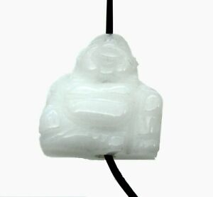 Buddha von oben gebohrt Schneequarz 2 cm