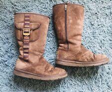 Genuine Ugg Boots Tall Dark Brown Sheepskin Size 6.5